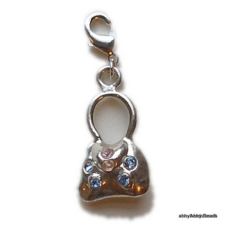 Hand bag charm silver plated with glitzy sparkles.